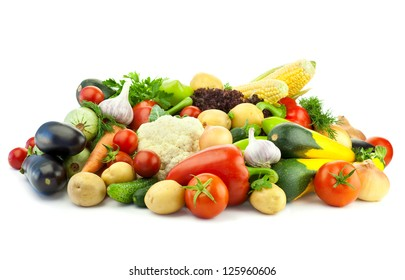Healthy Eating / Assortment of fresh Organic Vegetables /  Isolated over White Background