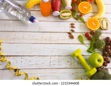 Healthy eating of diet meal plan with Workout and fitness dieting ,fitness and weight loss concept, fruit, Vegetable ,copy space and top view on wooden background,Food and health