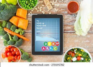healthy eating, dieting, calories counting and weigh loss concept - close up of tablet pc screen with chart and vegetables on table