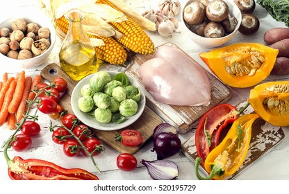 Healthy eating, dieting concept. Fruits, vegetables and chicken breast. Toned