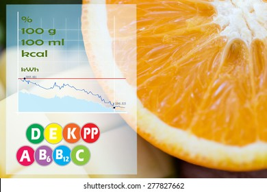 healthy eating, food, fruits and diet concept - close up of fresh juicy orange and mango slices with calories and vitamins chart