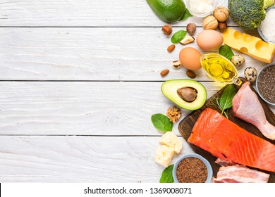 Healthy eating food low carb keto ketogenic diet high with omega 3, good fats and protein. top view with copy space