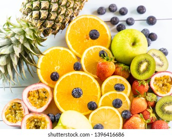 Healthy eating with Fresh fruits and Assorted fruits colorful background