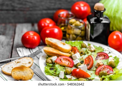 Healthy eating, greek salad of mediterranean cuisine, vegetarian food concept