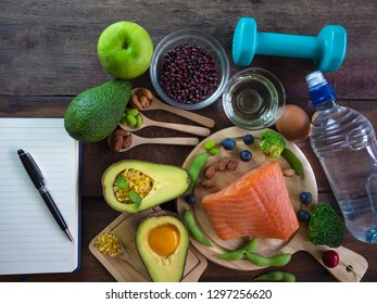 Healthy eating of ketogenic diet meal plan  apple,salmon and avocado with Workout and fitness dieting ,fitness and weight loss concept
