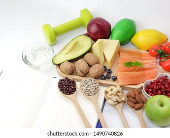 Healthy eating of ketogenic diet meal plan  apple,salmon and avocado with Workout and fitness dieting ,fitness and weight loss concept on white background