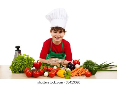 Healthy eating - kid and fresh vegetables isolated on white