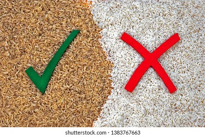 Healthy eating options & diet choices for wholemeal rice over white rice.