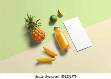Healthy eating, organic fresh fruits, mango, pineapple, lime, juce bottle and flyer template, isometric view