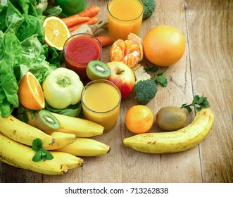 Healthy eating - organic fruit and vegetable like ingredients of healthy drink - beverages