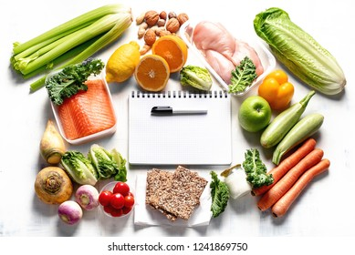 Healthy eating plan. Diet and meal planning. Top view. Flat lay