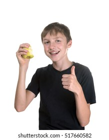 Healthy Eating: Teen with green apple showing sign ok. Isolated on white background