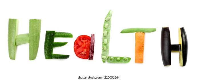 Healthy eating. Word Health made of vegetables, isolated on white