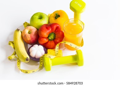 Healthy eating ,Workout and fitness dieting ,fitness and weight loss concept, on white background