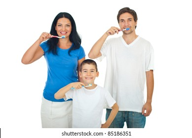 Healthy family brushing teeth isolated on white background