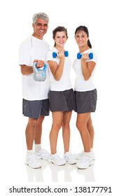 healthy family exercising on white background