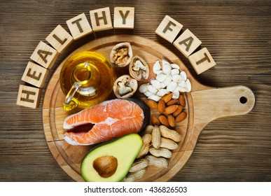 Healthy fat source: salmon, oil, avocado, pumpkin seeds, walnuts, peanuts and almonds