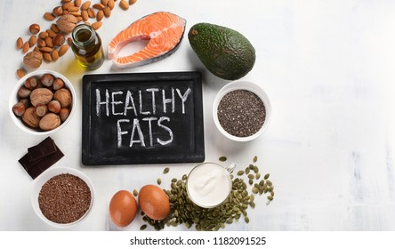 Healthy fat source. Top view with copy space