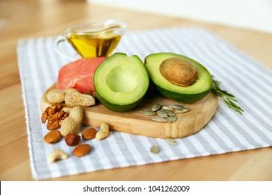 Healthy Fats. Fresh Organic Food On Table