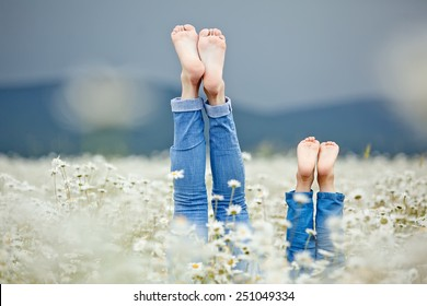 Healthy feet of family with daisy flowers on green grass against blurred spring background. Farmland vacations concept