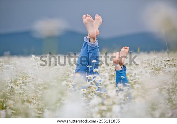 Здоровые ноги семьи с цветками ромашки на зеленой траве на размытом весеннем фоне. Концепция отдыха на сельскохозяйственных угодьях