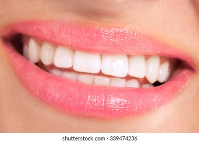 Healthy female smile with beautiful white teeth
