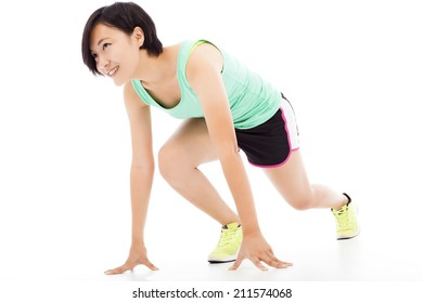 Healthy and fitness woman running over white background.