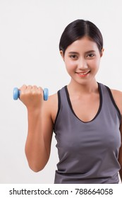 healthy fitness woman weight training with dumbbell