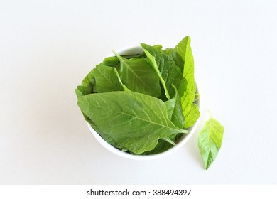 Healthy food amaranth leaves in a bowl.