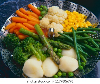 Healthy food. Assorted vegetables cooking in basket.