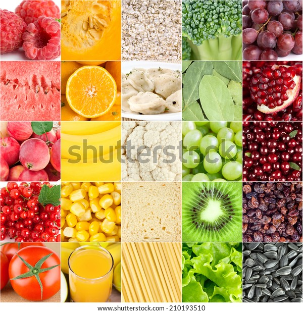 Healthy food background. Collection with different color fruits, berries, vegetables and different fresh food