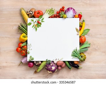 Healthy food background and Copy space / studio photography of white paper surrounded by fresh vegetables on wooden table