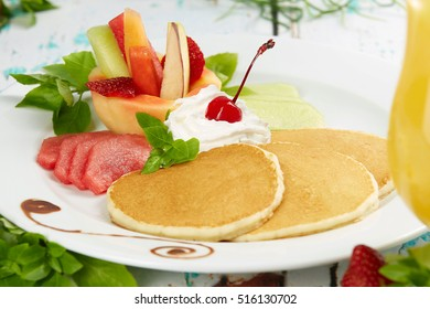 Healthy food background. Delicious fresh breakfast meal, close-up