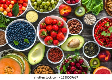 Healthy food background. Table with breakfast in a bowls, superfood, health vegetarian nutrition, antioxidant fruits and vegetables