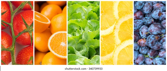 Healthy food backgrounds, five images of lemons, plums, tomatoes, salad and oranges