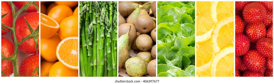 Healthy food backgrounds, seven images of lemons, asparagus, pears, tomatoes, salad, strawberries and oranges