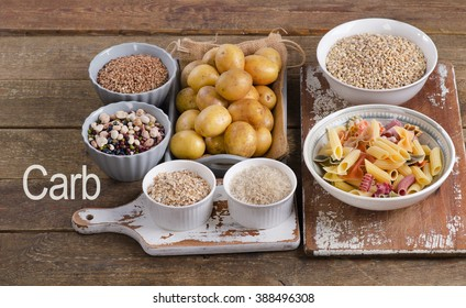 Healthy Food: Best Sources of Carbs on wooden board. Top view