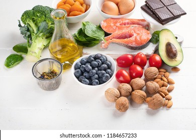 Healthy food for brain and memory. Healthy eating Concept.