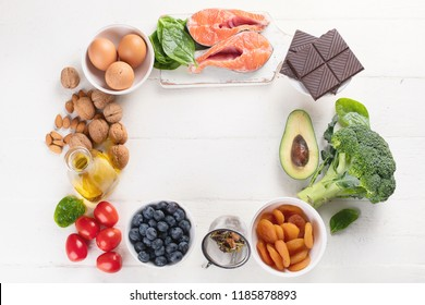 Healthy food for brain and memory. Healthy eating Concept. Top view  with copy space