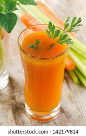 Healthy food - Carrot juice  and celery. Selective focus