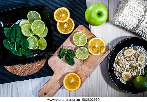 healthy food, cereal, fruit, lime, orange, sunflower seeds
