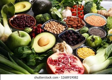 Healthy food clean eating selection. fruit, vegetable, seeds, superfood, cereals, leaf vegetable. veggie or vegan food