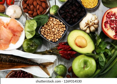 Healthy food clean eating selection. fruit, vegetable, seeds, superfood, cereals, leaf vegetable and fish and chicken.