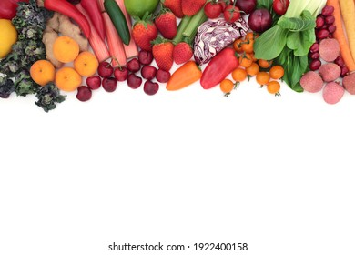 Healthy food collection for vegan and vegetarian diet with health foods high in antioxidants that neutralise free radicals, anthocyanins, lycopenes, fibre, vitamins and minerals. Border on white.