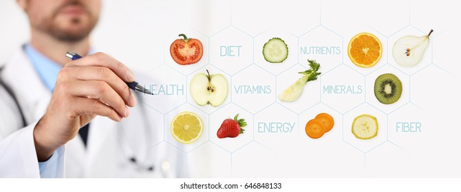 healthy food concept, Hand of nutritionist doctor pointing fruits with pen