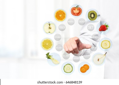 healthy food concept, Hand of nutritionist doctor pointing fruits