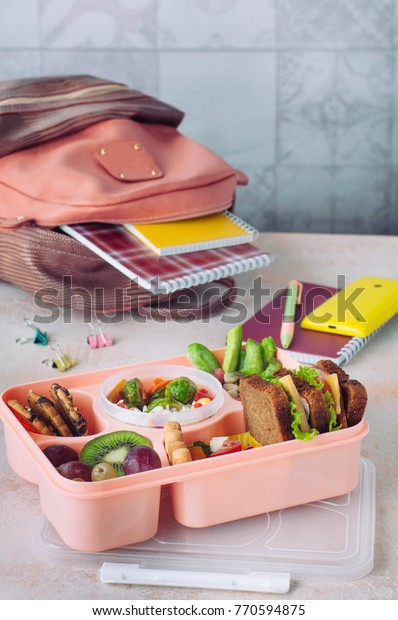 Healthy Food Concept Open Lunch Box Stock Photo Edit Now