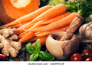 Healthy food cooking background. Vegetable ingredients. Horizontal composition