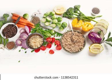 Healthy food cooking. Clean, vegan, vegetarian balanced eating. Ntrient rich foods concept