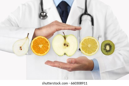 healthy food diet concept, Hands of nutritionist doctor with fruits